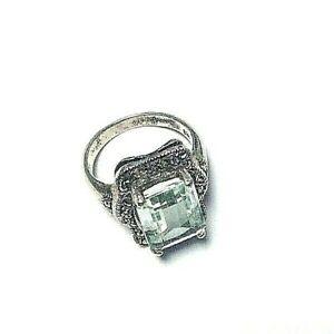 Vintage Sterling Silver Antique Aquamarine ring Marcasite Detailing