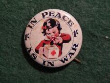 "TIN BADGE -  RED CROSS APPEAL - ""IN PEACE AS IN WAR"""