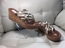 "SAM EDELMAN Size 10M Romy Cork ""gold Leather"" Wedge Sandals"