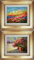 Framed Oil Painting, Eric Son Signed, Garden Field Flower, Two Beautiful Scenery