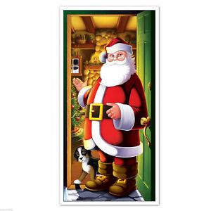 CHRISTMAS SANTA IN DOORWAY DOOR COVER POSTER PARTY WALL DECORATION PROP