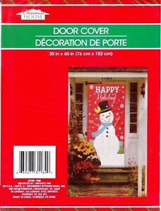 """New Christmas House Plastic Door Cover  30"""" x 60"""" Decoration ~ Happy Holiday!"""