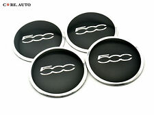 56mm × 4pcs Silver 500c Logo Car Wheel Center Sticker Badge Fiat 500 Aftermarket