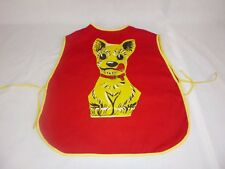 Vtg Mid Century Childrens Smock Apron Puppy Dog Applique CUTE!