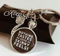 Keyring Gift Present Diet Weight Loss Slimming World Tastes Good Motivation