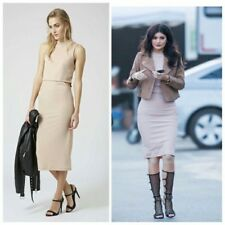 Topshop Nude Pink Ribbed Cut Out Bodycon Midi Dress Size 10 Kylie Jenner