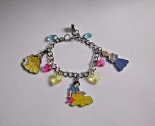DISNEY PRINCESS Inspired Charm BRACELET Belle Snow White Cinderella + Gift Bag
