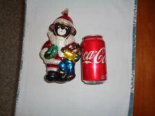 Slavic Treasures Santa Bears W/ Present Glass Christmas Tree Ornament