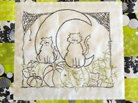 Halloween Hand Embroidery Pattern Black Cats Crescent Moon Pumpkins Spiders