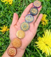 7 Chakras Engraved Stone Natural Gemstone Polished Disc Stone Reiki Gift Chakra