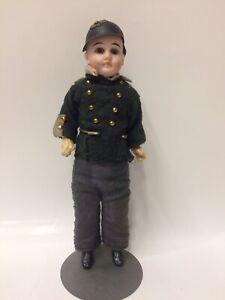 "8-1/2"" Gebruder Kuhnlenz Bisque 39 . 17 Closed Mouth German Soldier Doll"