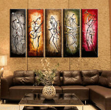 5PC Large Modern Abstract Art Oil Painting Wall Deco Canvas,Musical(No Framed)