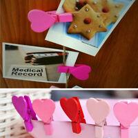 12Pcs Mini Heart Love Wooden Clothes Photo Paper Peg Pin Clothespin Craft Clips