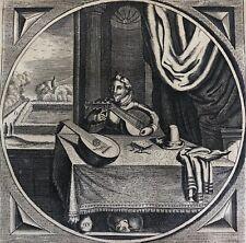 Jacob CATS (1577-1680) Luth Musique école Hollandaise tirage de 1712