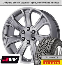 """20 x9"""" inch Wheels and A/T Tires for Chevy Tahoe Replica 5665 Hyper Silver Rims"""
