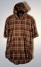 NWT MEN'S AMONGST OTHERS L OLIVE BROWN PLAID HOODIE SHORT SLEEVE  FLANNEL #1276