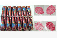 12 Natural Henna Cones + Stencils Temporary Tattoo Body Ink Mehndi Design Herbal