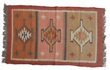 2.5x4' Kilim Rug Runner Wool Jute Carpet Indian Kelim Morocco hand woven Mat Rag