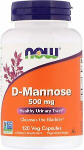 Now Foods D-Mannose 500mg 120 Veg Caps Urinary Tract Health UTI