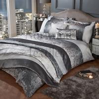 Crushed Velvet Band Glitter Shimmer Heidi Duvet Cover Set Bedding Range Silver