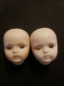 Bru J 9 Doll Head lot of 2 porcelain heads from Bryon Molds 1983