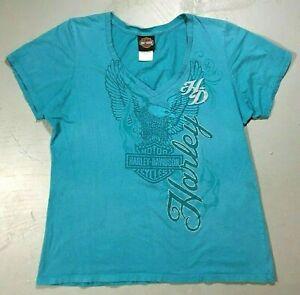 Harley Davidson 2013 USA Women's Green tee t shirt Size XXL Anchorage, Alaska