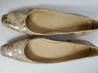 Stuart Weitman woman leather snakeskin flat slip on shoes 6M Made In Spain