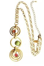 Lia Sophia Jewelry Sorbet Lariat Brass Color Ring Necklace Pink Green Yellow