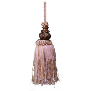 French Provincial Shabby Pink Beaded Decorator Door Tassel With Beads