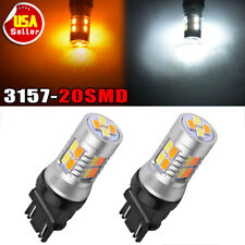 2x 3157  5730 20-LED Switchback Dual Color White AmberTrailer Light Bulbs 12V