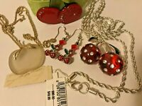 Kenneth Jay Lane KJL Rhinestone Cherry Necklace NWT Avon Apple Fruit Jewelry Lot