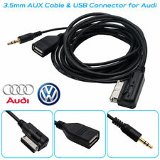 AUX Cable Per VW Audi A3 Q7 Music AMI MDI Interfaccia MMI USB Charger 3.5mm 1.5M