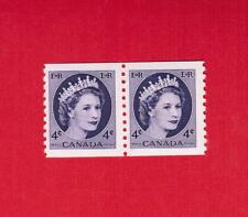 1954  #  347 ** FNH  TIMBRE  CANADA PAIR COIL STAMP   QUEEN ELIZABETH II