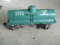 Vintage O Scale Marx Green Cities Service Tank Car CSOX 2532