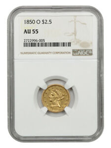 1850-O $2 1/2 NGC AU55 - Scarce Gold Quarter Eagle from New Orleans
