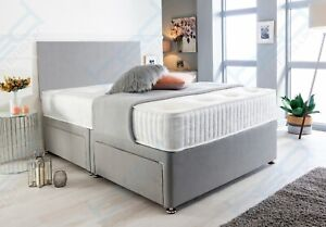 SUEDE DIVAN BED SET WITH MEMORY FOAM MATTRESS AND HEADBOARD DOUBLE KING SINGLE