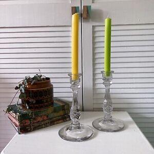 Vintage Pressed Glass Candlestick Holders Art Deco 1930s Depression Era Taper