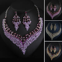 Luxury Jewelry Set Rhinestone Necklace Earring Statement Women Bridal Party Prom