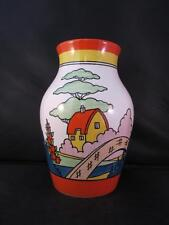 Gorgeous Wedgwood Isis Vase Orange Roof Cottage Bizarre by Clarice Cliff Ltd Ed