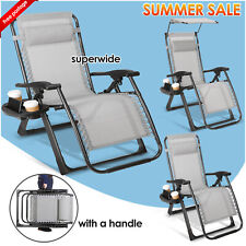 More details for 1x heavy duty zero gravity chair folding lounge beach outdoor square frame