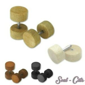 2 Piece Fakeplugs Wood 0,7cm Fakes Plugs Studs Earrings Fakepiercing Natural
