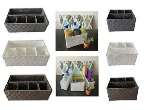 Woven Storage Box Basket 4 Or 6 Compartment Organiser For Office & Home