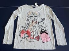 NWT Gap Kids 12 XL Bonjour Embellished T-shirt Long Sleeve Top Purse Cat Bling