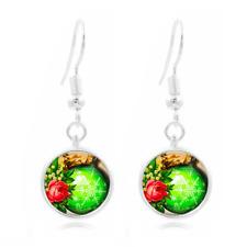 Christmas Ball Tibet Silver Dome Photo 16MM Glass Cabochon Long Earrings #74