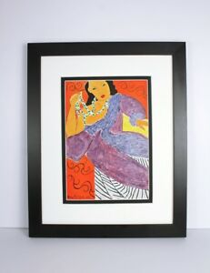 "1948 Henri Matisse Antique Print ""Asia Playing with Pearls"" FRAMED Signed COA"