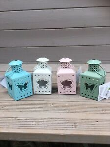 Set of 4 Pastel Lanterns Butterfly and Flower Designs - Outdoor Indoor Tealights