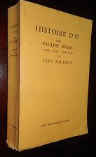 CURIOSA HISTOIRE D'O PAULINE REAGE JEAN PAULHAN JEAN-JACQUES PAUVERT 1966