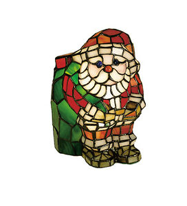 """Meyda Lighting 17241 9""""H Santa Claus Tiffany Style Stained Glass Accent Lamp"""