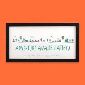 Personalised Name Adventure Scene Long Nursery Print | New Baby Christening Gift