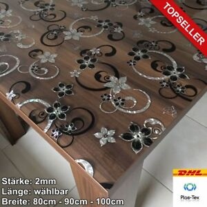 Tischfolie Tischdecke Schutzfolie mit Muster 2mm Transparent Klar Weich-PVC